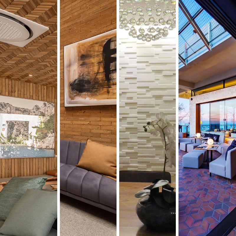 Cerâmica, cimento e madeira. Sofisticação e exclusividade em ambientes marcantes.